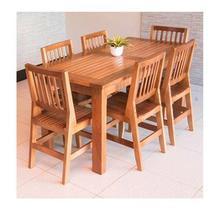 Conjunto Mesa De Jantar 2,00m Com 6 Cadeiras Confort Em Madeira De Lei Maciça - Viva