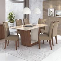 Conjunto Mesa de Jantar 6 Cadeiras Apogeu Móveis Lopas Imbuia Naturale/Suede Animale Bege -