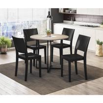 Conjunto Mesa de Jantar com 4 Cadeiras Hydra Plus - Preto/Ca - Brastubo