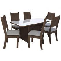 Conjunto Mesa de Jantar com 6 Cadeiras New Charm Indekes - Estrela Móveis