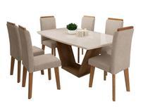 Conjunto Mesa de Jantar Diamante Off-White 1,70 X 0,90 com 6 Cadeiras Pena Caramelo - Móveis Rv -