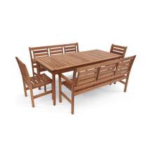 Conjunto Mesa De Jantar Em Madeira Maciça Retangular 8 Lugares Com Cadeiras E Bancos Com Encosto Mag - Madebal