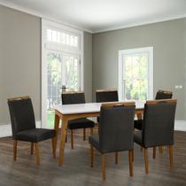 Conjunto Mesa de Jantar Helena Off White 160x90cm 3d Mel 6 Cadeiras Estofadas Mel com Marrom - ASSENTOS PARANÁ