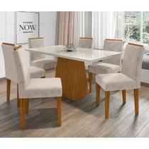 Conjunto Mesa de Jantar Jasmin 1,60m Tampo de Madeira com Vidro Colado com 6 Cadeiras Amanda Ypê Offwhite WD22 New Ceval -