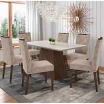 Conjunto Mesa de Jantar Jasmin 1,60m Tampo de Madeira com Vidro Colado com 6 Cadeiras Carolina Castanho Offwhite WD25 New Ceval -