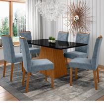 Conjunto Mesa de Jantar Jasmin 1,60m Tampo de Madeira com Vidro Colado com 6 Cadeiras Carolina Ypê Preto WD26 New Ceval -