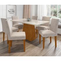 Conjunto Mesa de Jantar Jasmin 1,60m Tampo de Madeira com Vidro Colado com 6 Cadeiras Giovana Ypê Offwhite WD22 New Ceval -