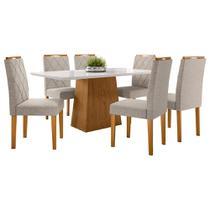 Conjunto Mesa de Jantar Jasmin 1,60m Tampo de Madeira com Vidro Colado com 6 Cadeiras Isabela Ypê Offwhite TL13 New Ceval -