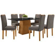 Conjunto Mesa de Jantar Jasmin 1,60m Tampo de Madeira com Vidro Colado com 6 Cadeiras Isabela Ypê Preto VL01 New Ceval -