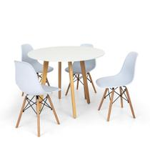 Conjunto Mesa de Jantar Laura 100cm Branca com 4 Cadeiras Charles Eames - Branca - Império Brazil Business