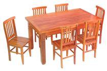Conjunto Mesa de Jantar Madeira em Demolição 1,50 m com 6 Cadeiras Mineira - Móveis Decora