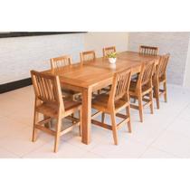 Conjunto Mesa De Jantar Mineirinha 2,50m Com 8 Cadeiras Confort Em Madeira De Lei Maciça - Viva