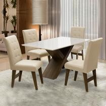 Conjunto Mesa de Jantar Off White Dubai 1,35m MDF com 4 Cadeiras Castanho / Areia - Dobuê