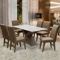 Conjunto Mesa de Jantar Off White Dubai 1,60m MDF com 6 Cadeiras Castanho / Cacau - Dobuê