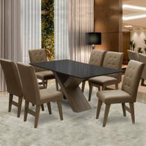 Conjunto Mesa de Jantar Preto Dubai 1,60m MDF com 6 Cadeiras Castanho / Cacau - Dobuê
