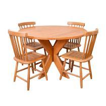 Conjunto Mesa De Jantar Redonda 1,20m Com 4 Cadeiras Country G Em Madeira De Lei Maciça - Viva