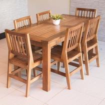 Conjunto Mesa De Jantar Ripada 1,60m Com 6 Cadeiras Confort Em Madeira De Lei Maciça - Viva