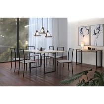 Conjunto Mesa de Jantar Tampo MDF Vidro Serigrafado 180cm e 6 Cadeiras Pés Metálicos Atos Mais Decor Preto/Siena/Off White/Linho Bege -