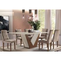 Conjunto Mesa de Jantar Vegas 1,70m com 06 Cadeiras Vegas Cel Móveis Chocolate/Off-White CestaPlus -