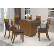 Conjunto Mesa de Jantar Viero Canada com 6 Cadeiras Roma 130X80cm -