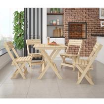Conjunto Mesa Dobrável 4 Cadeiras Espresso Móveis Madeira Maciça -