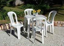 Conjunto Mesa E 4 Cadeiras Bistro Plastico Branco 20 Jogos - Antares