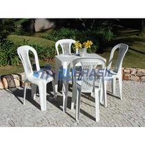 Conjunto Mesa E 4 Cadeiras Bistro Plastico Branco - Antares