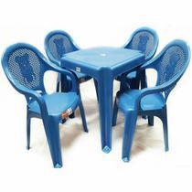 Conjunto Mesa E 4 Cadeiras Poltrona Infantil Decorada Azul - Antares