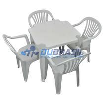 Conjunto Mesa E 4 Cadeiras Poltrona Plastico Branco - Antares