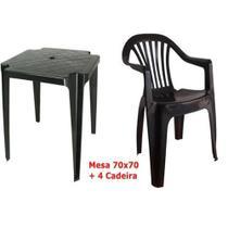 Conjunto Mesa E 4 Cadeiras Poltrona Plastico Preto - Antares