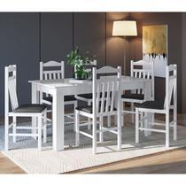Conjunto Mesa Fixa Móveis Canção Com 6 Cadeiras -
