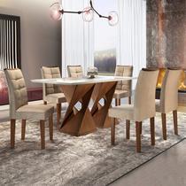 Conjunto Mesa Genova Tampo Slim Vidro Plus 6 Cadeiras Napoles Cel Móveis Chocolate/Suede Pena -