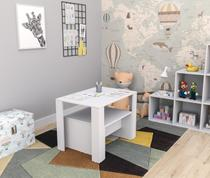 Conjunto mesa infantil com 2 bancos liv kids appunto branco pracasa -