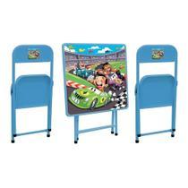Conjunto Mesa Infantil Metalmix Sapeca Carros 2 Cadeiras -