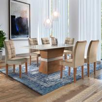 Conjunto Mesa Jade Tampo Smart Vidro Off Plus 6 Cadeiras Villa Rica - Chocolate/Off White/Suede Pena - Cel Móveis -
