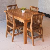 Conjunto Mesa Jantar Ripada 1,20m 4 Cadeiras Confort Madeira Maciça - Vivá Moveis