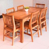Conjunto Mesa Jantar Ripada 2,00m 6 Cadeiras Confort Madeira Maciça - Vivá Moveis