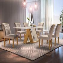 Conjunto Mesa Laguna Tampo Slim Vidro Plus 6 Cadeiras Laguna Cel Móveis Ypê/Off White/Suede Pena -