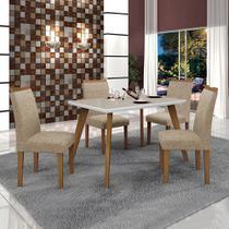 Conjunto Mesa Lavinia 4 Cadeiras Pampulha C/Vidro Off White Leifer Imbuia Mel/Branco/Linho Bege -