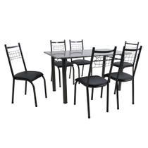 Conjunto Mesa Lisboa com 6 Cadeiras Lisboa Tubular Preto Prata - Fabone -