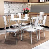Conjunto Mesa Loire de Vidro e 6 Cadeiras Lisboa Kappesberg Cromado/Branco -
