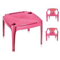 Conjunto mesa mesinha infantil com 2 cadeiras poltrona meninas rosa - Arqplast