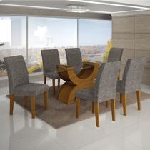 Conjunto Mesa Olimpia New 1,80X0,90M 6 Cadeiras Linho Cinza - 7337.39.39.4 Leifer - Leifer moveis