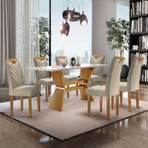 Conjunto Mesa Oxford Tampo Slim Vidro Off White  Plus 1,70 X 0,90 c/ 6 Cadeiras Oxford - Ype/Off White - Cel Móveis -