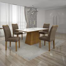 Conjunto Mesa Pampulha 1,20X0,80M com 4 Cadeiras Vidro Branco Linho Marrom Imbuia - Leifer - Leifer moveis