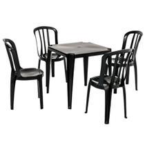 Conjunto Mesa Plástica + 4 Cadeiras Bistrô - PRETO - Capacidade 182kg - Rei do Plástico -