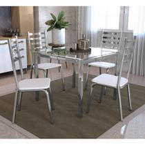 Conjunto Mesa Quadrada Vidro e 4 Cadeiras Alemanha Kappesberg Cromado/Branco -