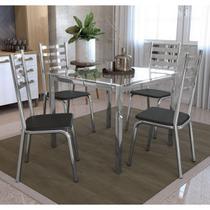 Conjunto Mesa Quadrada Vidro e 4 Cadeiras Alemanha Kappesberg Cromado/Preto -
