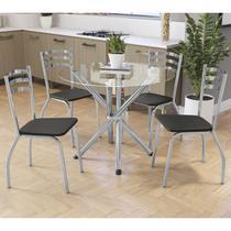 Conjunto Mesa Redonda De Vidro 4 Cadeiras Crome CMC307CR-110 Preto -