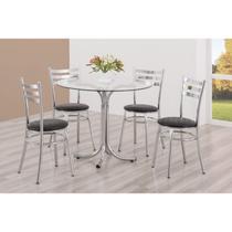 Conjunto Mesa Redonda Tampo de Vidro e 4 Cadeiras Assento Estofado Unimóvel Cromado/Preto -
